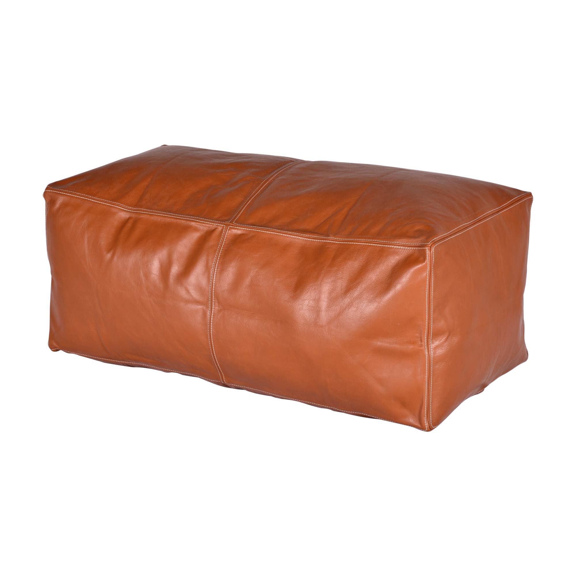 Magus Designs Tan Color Leather Rectangle Unfilled Morrocan Pouf Cover by Magus Designs