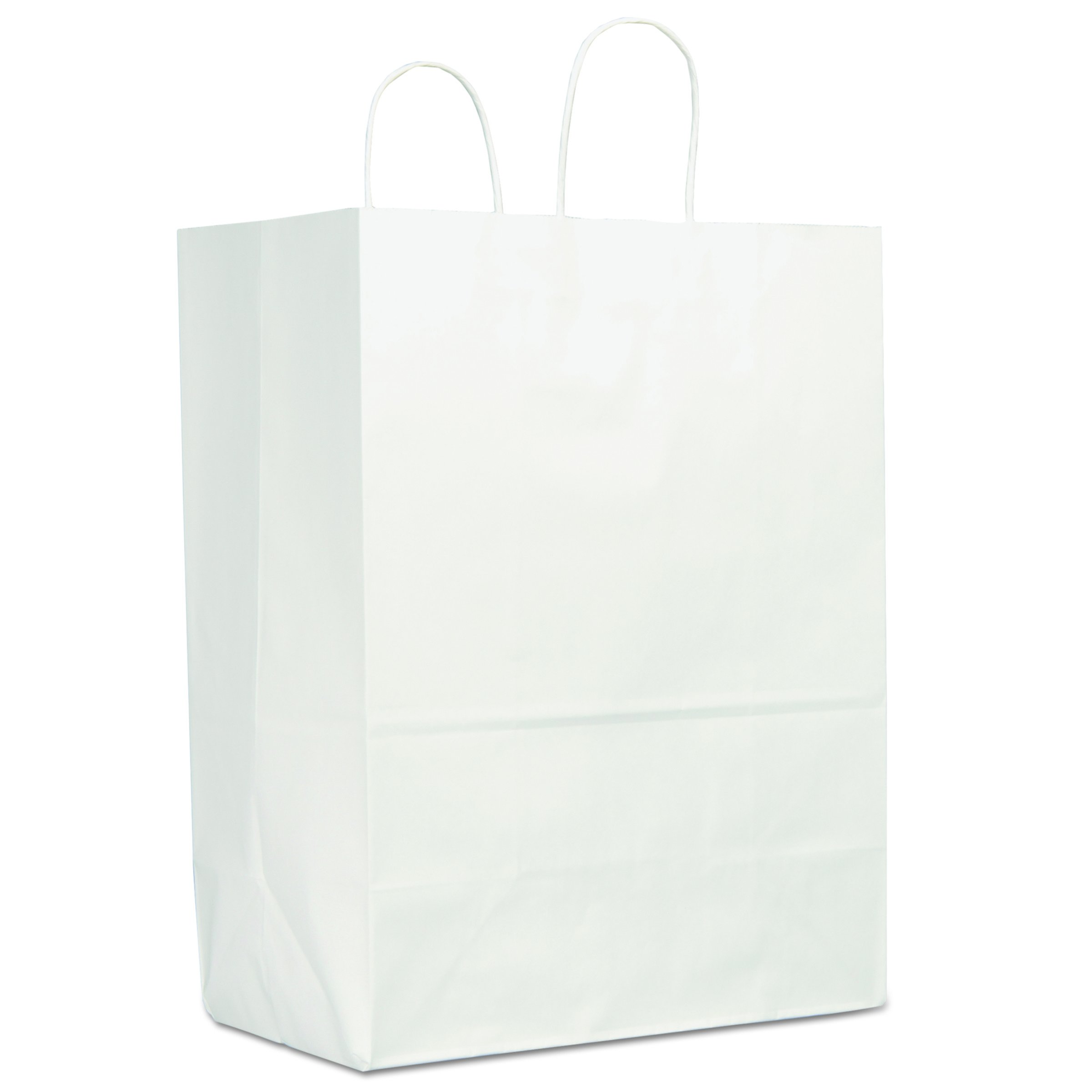 Duro WSHP13717C 13'' Width x 7'' Gusset x 17'' Height, White Sup-R-Mart Shopping Bag (250 per Bundle)
