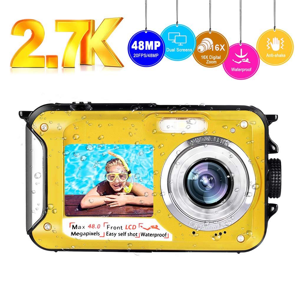 Underwater Camera Waterproof Camera Full HD 2.7K 48MP Selfie Dual Screens Waterproof Digital Camera 16X Digital Zoom Underwater Digital Camera for Snorkeling (Yellow) (2.7k Yellow) by CEDITA