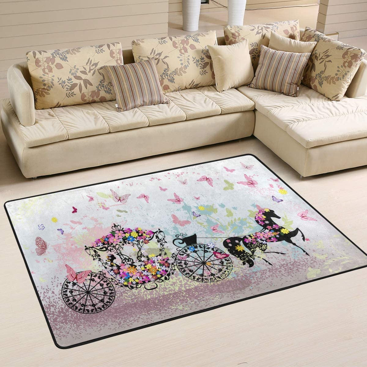 Wamika Floral Carriage Butterfly Doormat Pink Flower Animal Indoor Outdoor Rug for Kitchen Living Room Bedroom Outside Patio Inside Entry Way, 6 x 4
