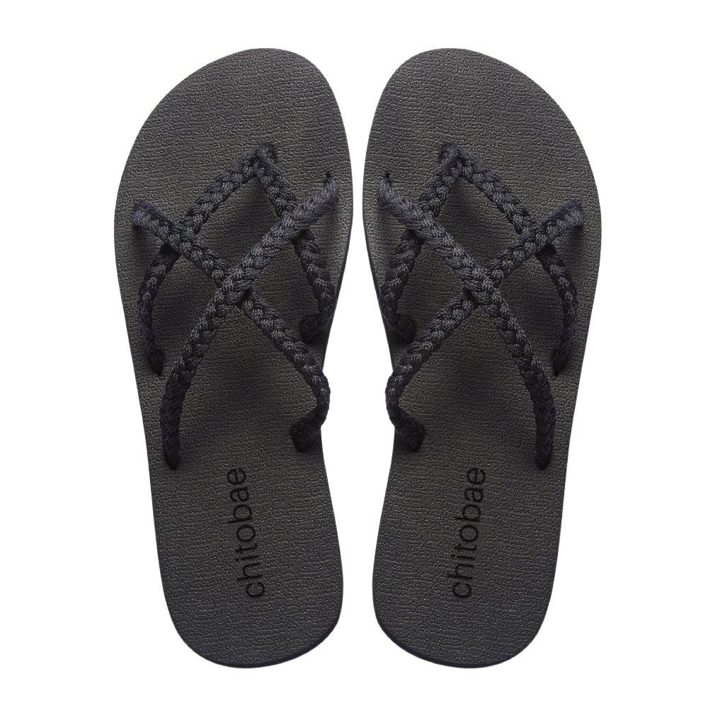 Chitobae Flip Flops Sandal for Women Black 8 B(M) US