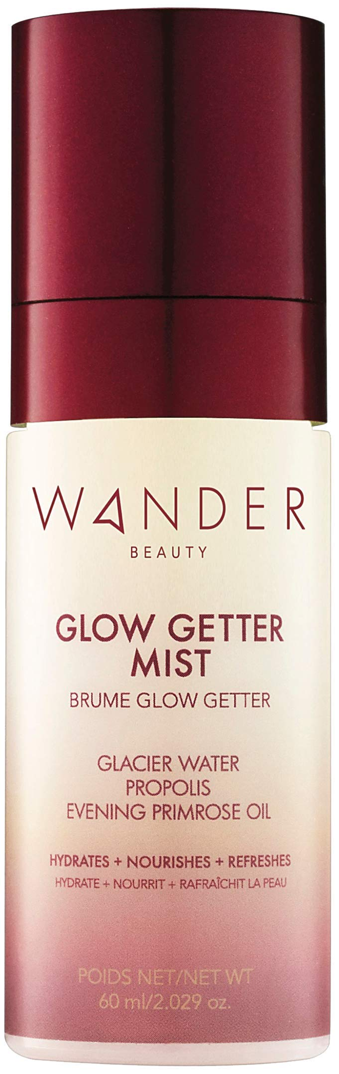 Wander Beauty Glow Getter Mist - Hydrating Rose Facial Finishing Spray with Minerals & Evening Primrose Oil (60ml / 2.03oz)