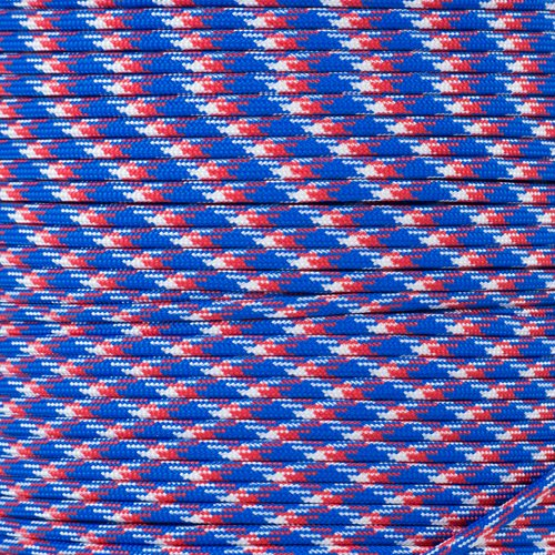 PARACORD PLANET 550 Cord Type III 7 Strand Paracord 1000 Foot Spool - Red, White & Blue Camo