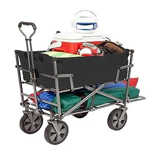 Mac Sports Heavy Duty Steel Double Decker Collapsible Yard Cart Wagon, Black