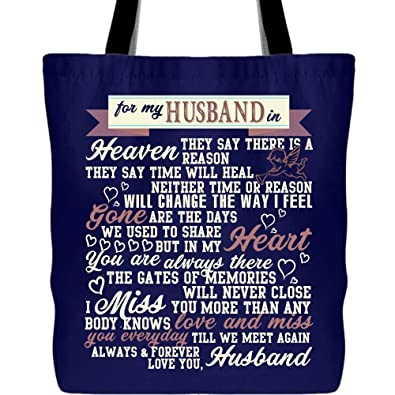 080c1ac014d5 Amazon.com: My Husband In Heaven Canvas Tote Bags, Forever My ...