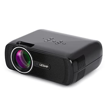 LESHP Mini Proyector LED 1080p HD HDMI / VGA / USB / AV / TV Home Cinema (1300 Lumens, Negro)