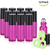 Olilia 5ml Glass Essential Oils Roller Bottles with Stainless Steel Ball 12 Pack, Essential Oils Key included (Violet)