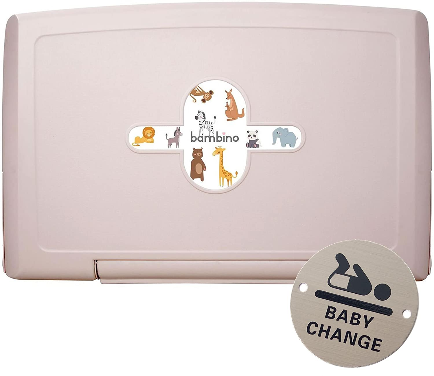 Bambino Wall Mounted Fold Down Horizontal Baby Changing Table Unit with Free Baby Changing Door Sign 0000022591