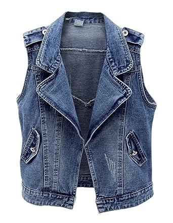 86d6c30871ec54 CYSTYLE 2018 Damen Denim Weste Jacke Ärmellos Einfache Beiläufige  Jeansweste (EU XXS=Asia S