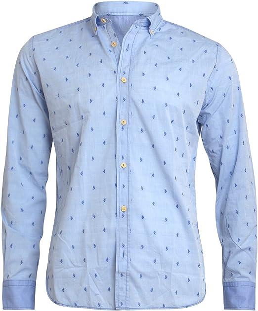 Lucky de Luca - Camisa Casual - Lunares - para Hombre Azul Azul: Amazon.es: Ropa y accesorios