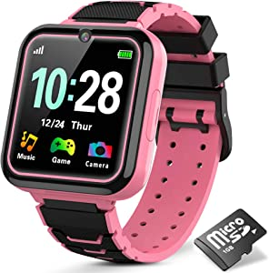 Kids Games Watch for Girls Boys, HD Touch Screen Child Smartwatches with Games Music Two-Way Call SOS Flashlight Calculator Recorder Alarm Clock, Birthday Gifts for 3-14Y (Pink)