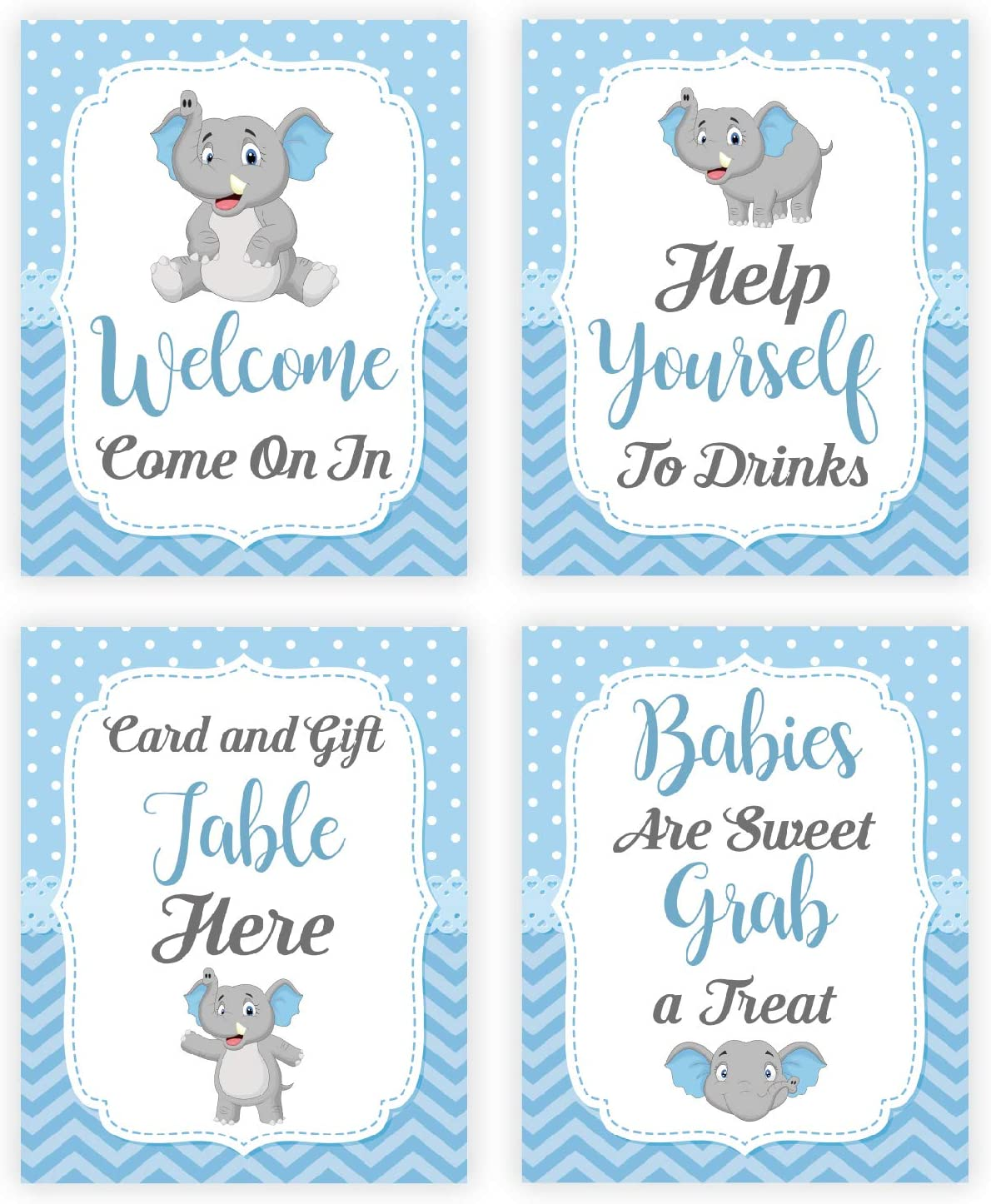Baby Shower Table Decorations Signs, Blue Elephant Baby Shower Decorations for Boy, Centerpiece Decor Supplies for Boys, 4 Table Signs, 8X10 Inch [Unframed]