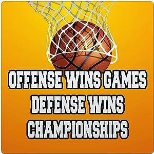 Makoroni - Offense WINS Games Defense WINS Championships. Basketball Des#1 Ceramic Tile Trivet 4.25x4.25 inc