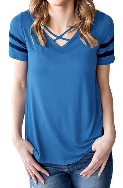 Manga Corta Tirantes Delantera Escote Triangular en V Color de Contraste  Rayas Stripe T-Shirt Camiseta Playera tee Blusón Blusa Shirt Camisa Top   Amazon.es  ... 120529d25aa6e