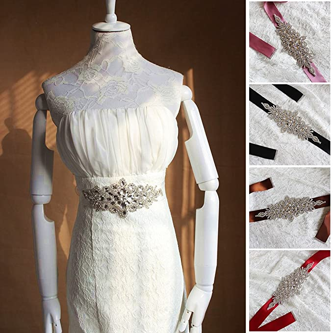 UxradG - Cinturón de novia de cristal, elegante, estilo vintage, para boda, fiesta, dama de honor, accesorios para vestidos, vestidos de novia de cristal 10 ...