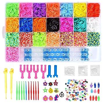 10175e7c42bc Queta 6800 DIY Gomas Loom Bandas Box Box Box Box Pulsera Halskette  Strickwerkzeug Juguetes para niños