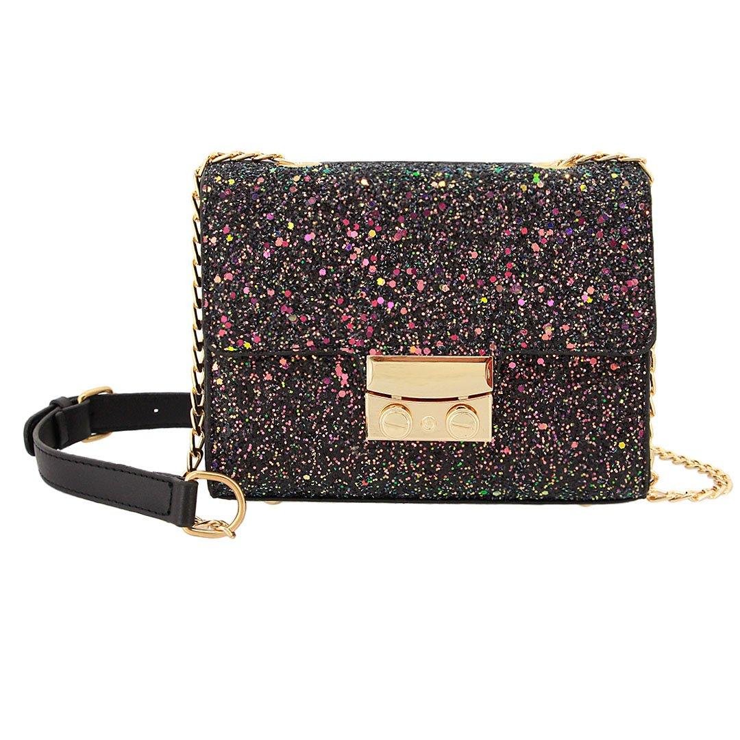 Gabrine Womens Girls Fashion Elegant Shoulder Crossbody Evening Bag Handbag Clutch Purse Glitter Bling Sparkling Sequins for Dailywear Wedding Party Prom(Black)
