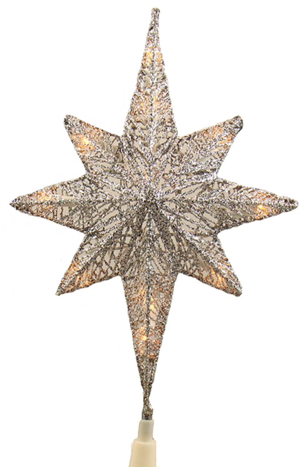 amazoncom 12 lighted silver glitter star of bethlehem christmas tree topper clear lights home kitchen - Glitter Christmas Tree