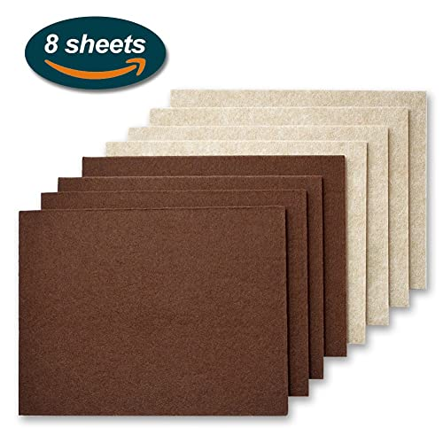 Furniture Pads, Lookka 11 x 15 cm Large Heavy Duty Premium Self Adhesive Felt Pads for Floor Protection - 4 Pieces Brown and 4 Pieces Beige (2 colors)