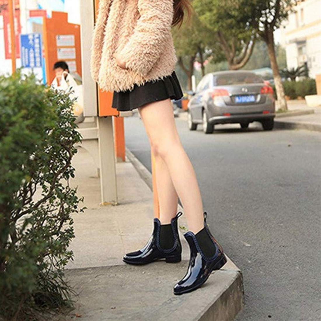 SYLPHID Womens Rain Boots Ladies Elastic Chelsea Rain Booties Shiny Waterproof Non Slip Ankle Rain Shoes