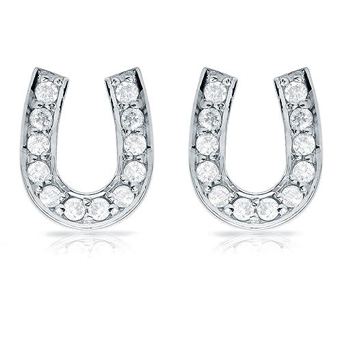 Diamond Wish 10K Gold Diamond Horseshoe Stud Earrings 1 10ct to 1 3ct TDW, White, I1-I2