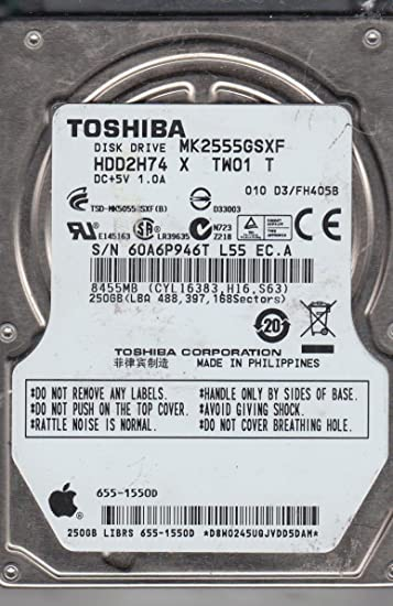 010 D3//FH405B 250gb Sata Laptop Drive MK2555GSXF HDD2H74 X TW01 T