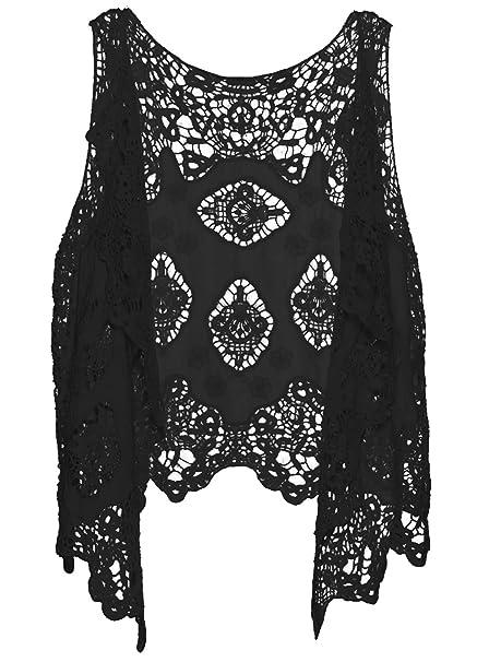 Loritta Casual Waistcoat Hollow Gilet Tops Cardigan Crochet Vest