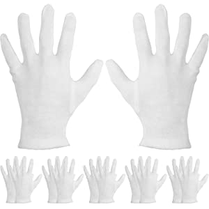 Mudder 6 Pairs Cotton Cosmetic Gloves Hand Spa Gloves for Moisturizing, White (L Size)