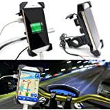 Die Hard™, Bike Mobile Holder with USB 3.0 Fast Charger - Universal Motorcycle Car 360 Degree Rotating for All Android Devices Upto 7 Inches Mobiles (Black)