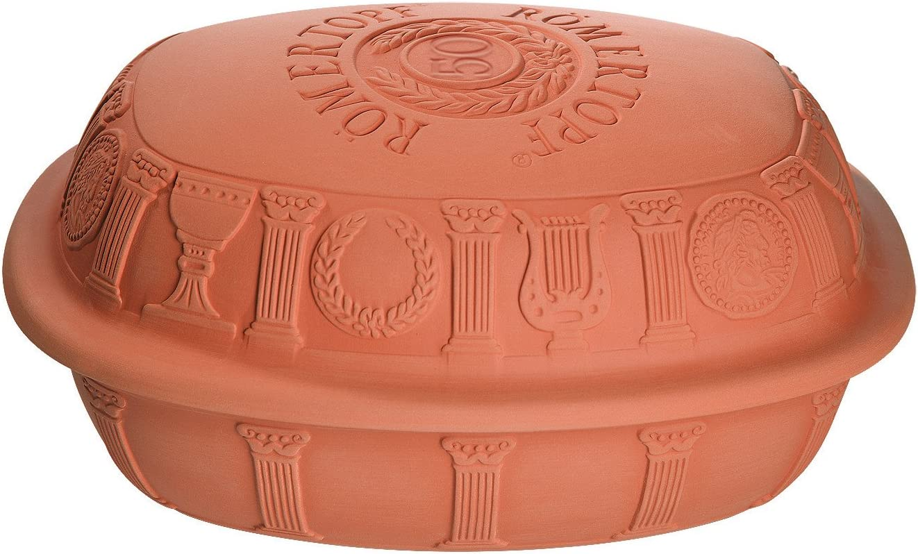 Romertopf 99500M 50th Anniversary Series Glazed Clay Baker by Reston Lloyd, Large, Natural