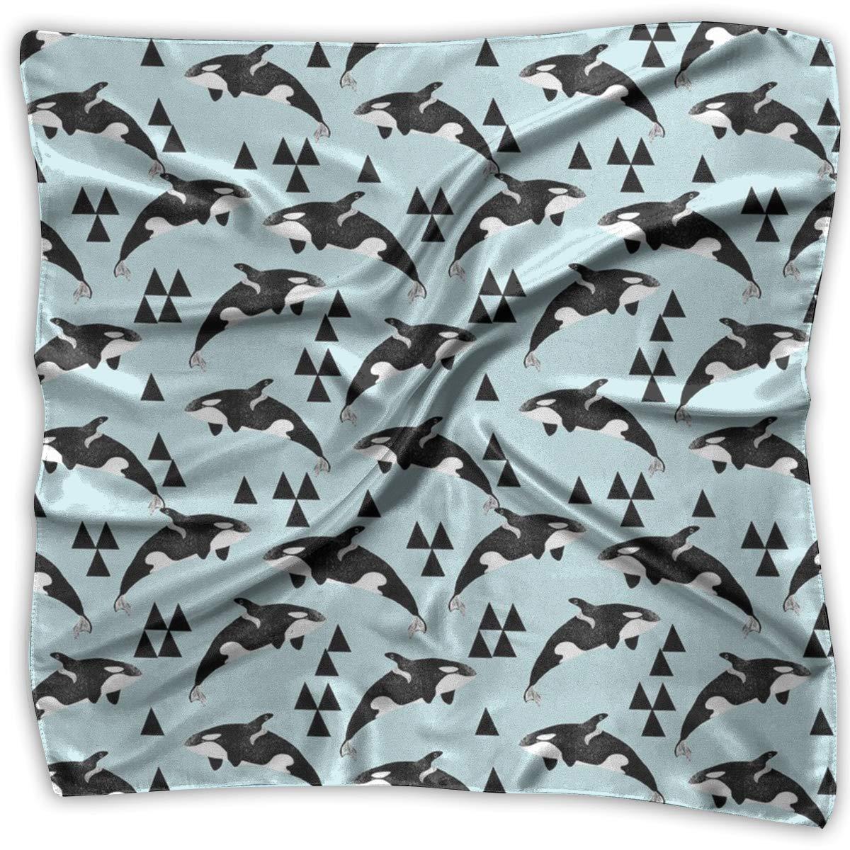 145e7836c9ff4 Amazon.com: Orca Whale Ocean Pastel Blue Silky Square Scarf Kerchief ...