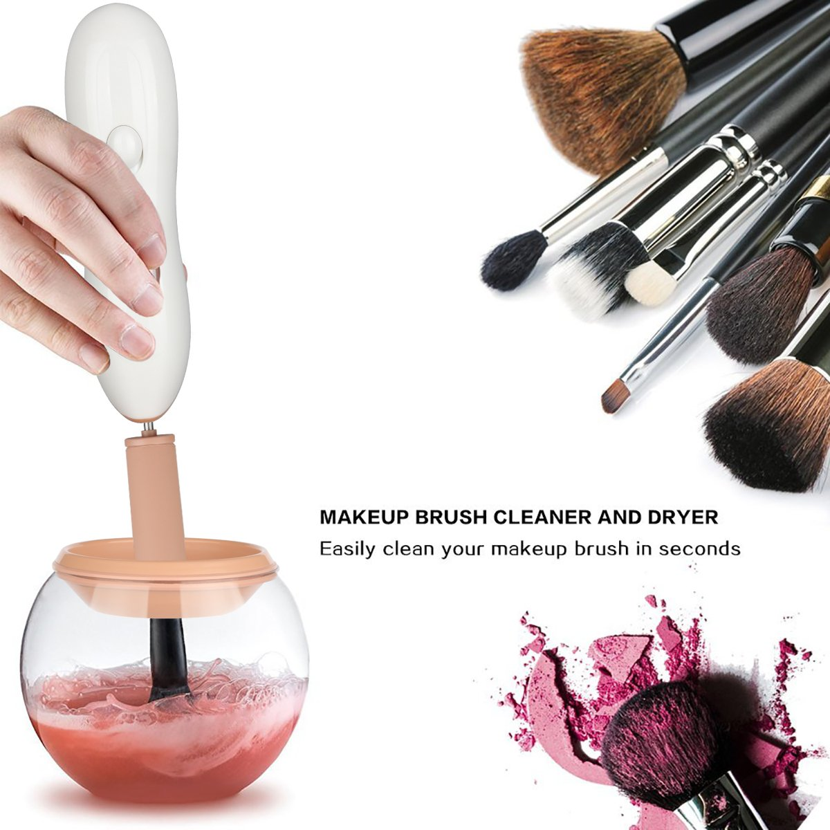 Makeup Brush Cleaner - Deep Clean and Dry All Size Makeup Brushes 360 Degree Rotation with 8 Rubber Collars In Seconds (White) Madage k9