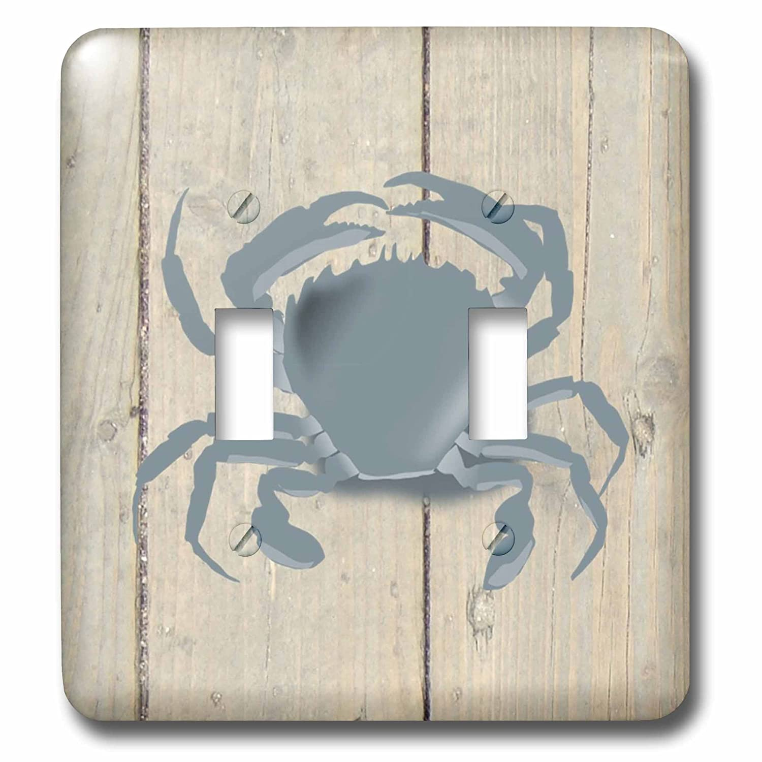 3D Rose LSP/_233752/_2 Image of Blue Crab On Weathered Planks Double Toggle Switch 3dRose