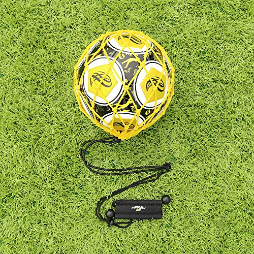 【Win Your World Cup】PodiuMax Handle Solo Soccer Kick Trainer with New Ball Locked Net Design, Soccer Ball Bungee Elastic Training Juggling Net (Fits Ball Size 3, 4, 5)