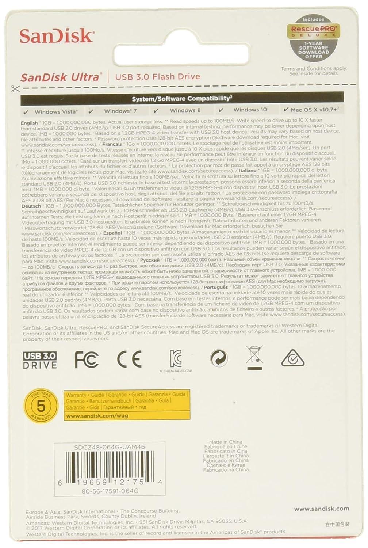 SanDisk Ultra (SDCZ48-064G-135/SDCZ48-064G-UAM46) USB 3 0 Pen Drive (Black)