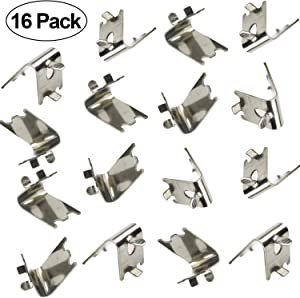 Alpurple 16 Packs of Freezer Shelf Clip-Freezer Cooler Shelf Support Clips,Stainless Steel Shelf Square Clip-Pilaster Clip Square Slot for Refrigerator