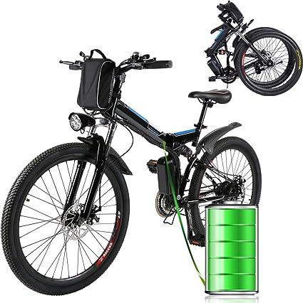 Laiozyen Bicicleta Eléctrica Plegable 250W Unisex Adulto Bicicleta eléctrica Urbana, Bici de Paseo, 8AH, batería de ión Litio de 36V, 26