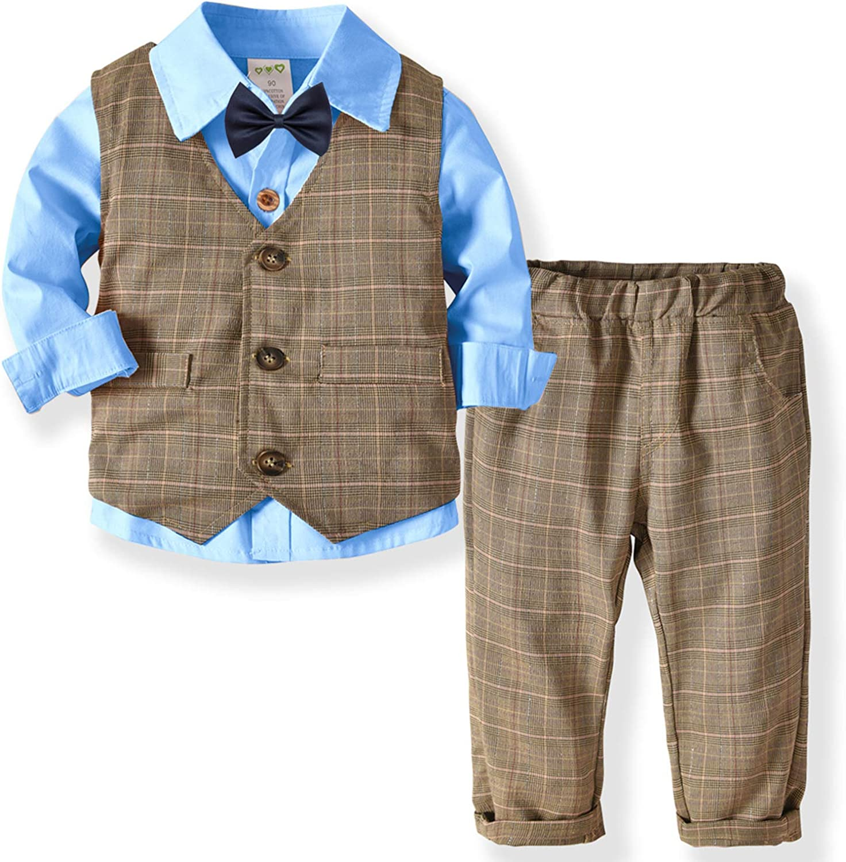ZOEREA 3 Piezas Trajes de Bebés Niños Chaleco + Camisa con Pajarita + Pantalones Niño Caballeros Bautismo Boda Conjuntos de Ropa