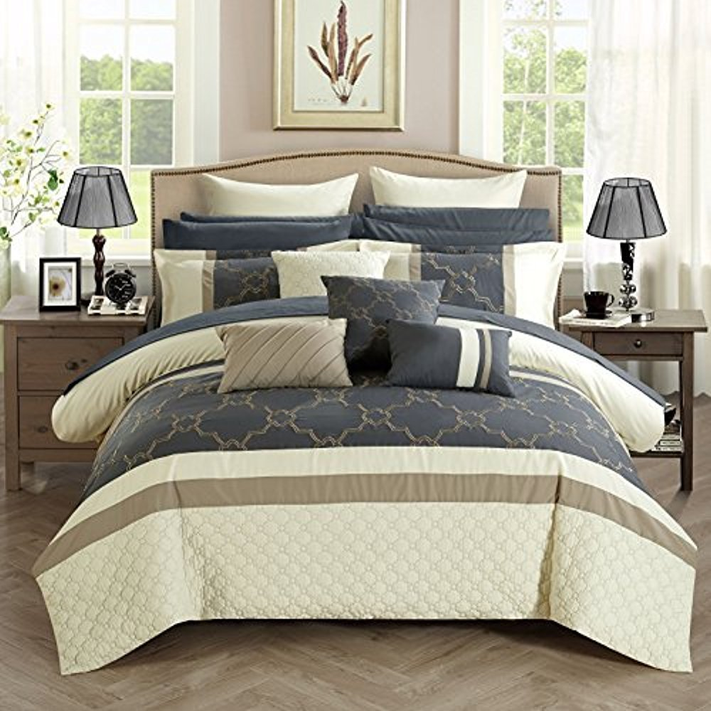 Chic Home CS2826-AN Camilia 16 Piece Bed in A Bag Comforter Set, Off-White, Queen