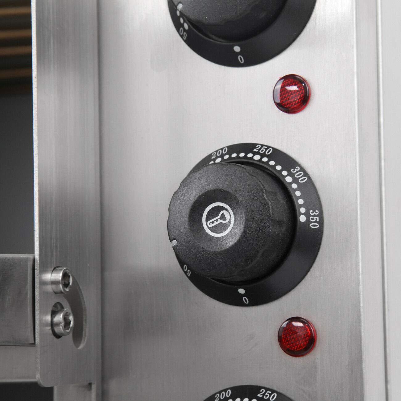 TryESeller Elektrisch Pizza Ofen 3000W Rostfreier Stahl Zwilling Deck Schamottestein Mehrzweck Ofen bis zu 350 /° C zum Restaurant Zuhause Pizza Brezeln Gebacken Geschirr