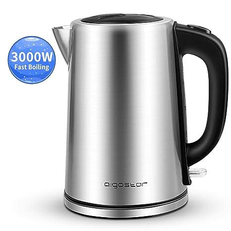 Aigostar 30LDG - 3000W Hervidor de agua, 1,7 litros,libre de BPA, acero inoxidable pulido de grado 304 y sistema de protección contra la ebullición en ...