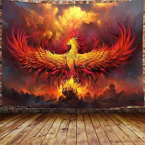 JAWO Fantasy Phoenix Bird Large Tapestry for Men, Red Anime Animal Hippie Tapestry Wall Hanging for Bedroom, Aesthetic Cool Tapestry Beach Blanket College Dorm Home Decor 90 W X 70 H