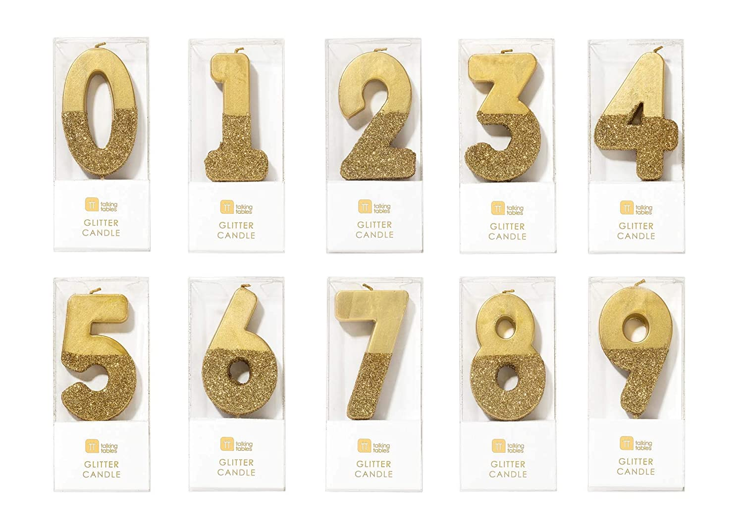 Talking Tables Bday HB 8 Wax Height 2cm Glitter Happy Birthday Candles Cake Topper Gold And Pastel colors 0.8