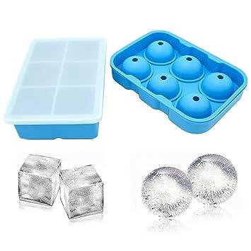 Juego de 2 bandejas de silicona para cubitos de hielo, redondas, grandes, cuadradas