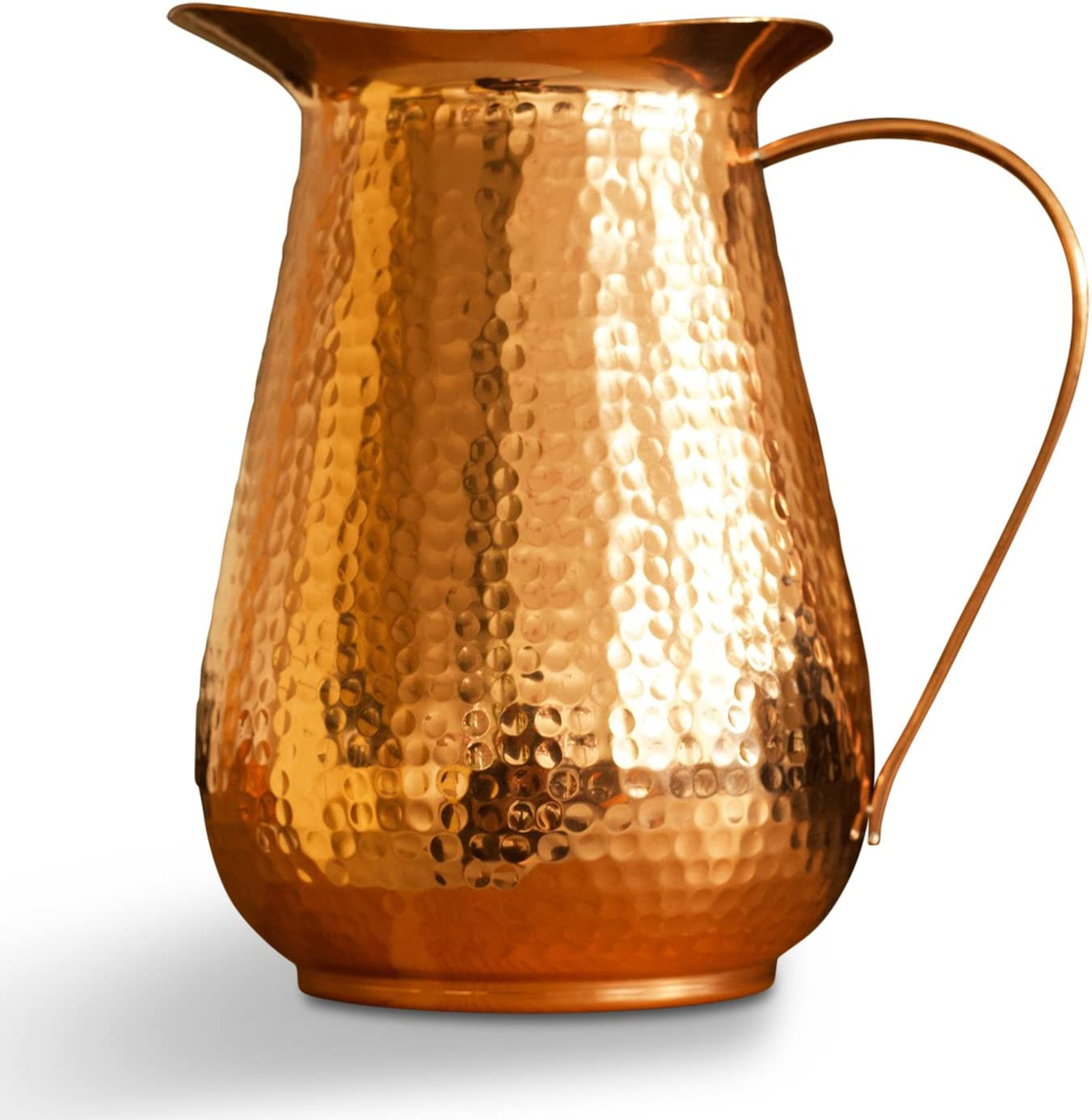 Kosdeg Copper Pitcher Extra Large 68 Oz - Drink More Water Lower Your Sugar Intake And Enjoy The Health Benefits Immediately - 100% Pure Copper Handmade Hammered Jug, Made From Heavy Gauge Copper