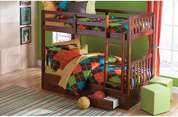 Donco Kids Merlot Wood Mission-Style Twin-Over-Twin Bunk Bed