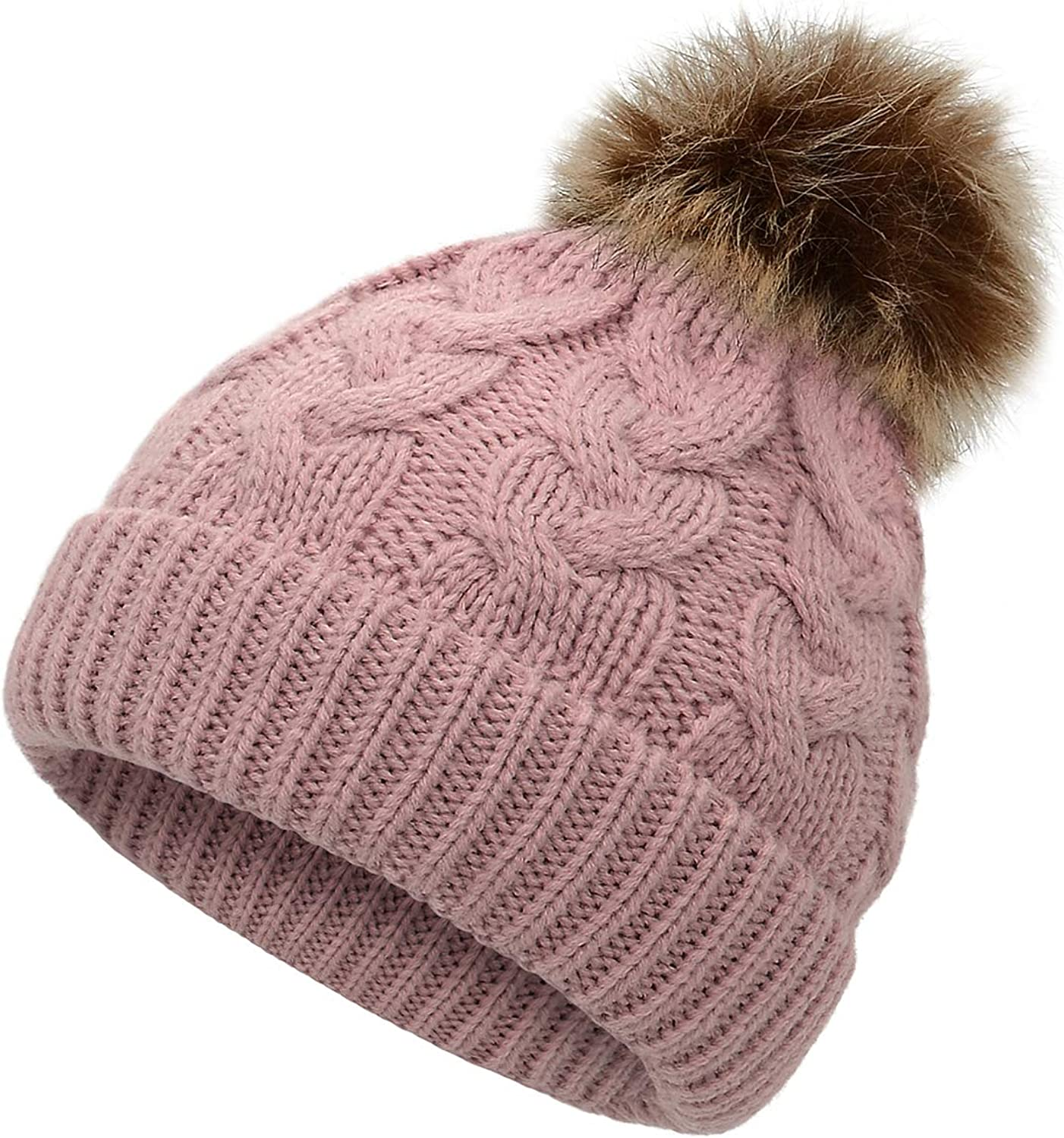 Baby Toddler Kids Girl Boys Faux Fur Ball Beanie Knit Cap Warm Hat Winter Pompom