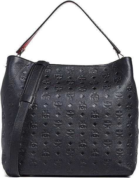 MCM Damen Handtasche Klara Monogrammed Leather Large Schwarz