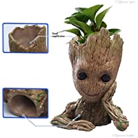 Grab Classy - Guardians of The Galaxy 2: Baby Groot Flower Pot Wooden Look Replica Toy Gift Item, Flower Pot