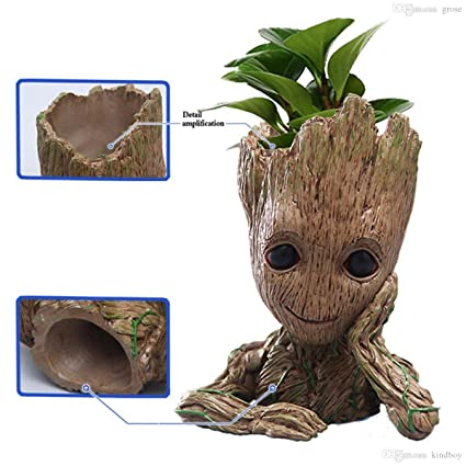 Grab Classy Guardians Of The Galaxy 2 Baby Groot Flower Pot Wooden Look Replica Toy Gift Item Flower Pot